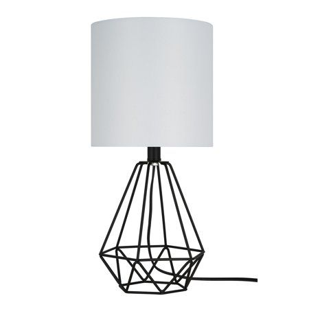 Cresswell Lighting Matte Black Metal Table Lamp 17 25 H Led Bulb Included Walmart Com In 2021 Casual Table Lamps Cage Table Lamp Metal Table Lamps