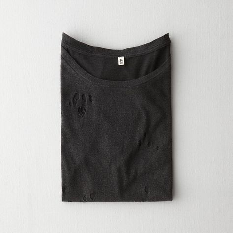 R13 Distressed Sydney Tee (240 CAD) ❤ liked on Polyvore featuring tops, t-shirts, folded, washed black, torn t shirt, relaxed tee, ripped tops, folding t shirts and destroyed t shirt