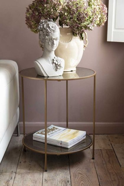Antiqued Mirror Side Table Mirrored Side Tables Brass Side Tables Living Room Mirrored Table Decor