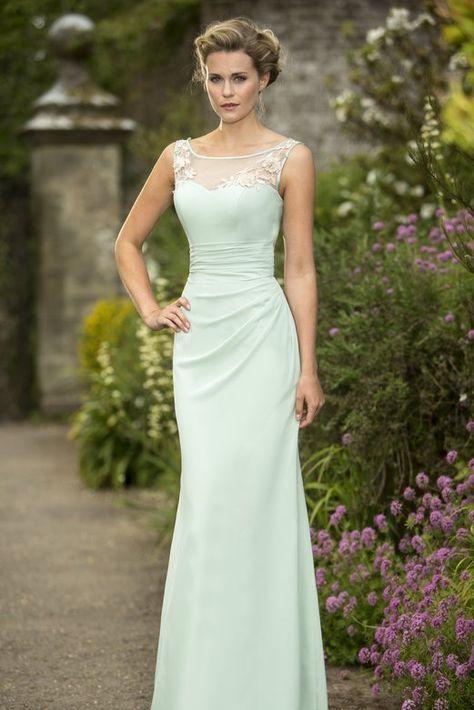 Illusion Scoop Neck Lace Appliqued Sheath Mint Green Chiffon Long Bridesmaid Dress