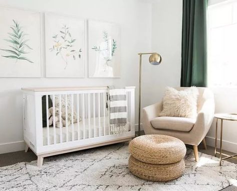 Sweet minimalist nursery with green, botanical accents