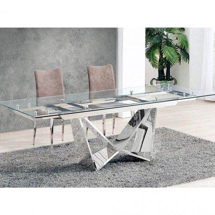 Tavolo Allungabile Moderno In Vetro Trasparente E Metallo Martone Tavolo Trasparente Tavolo Tavolo Allungabile