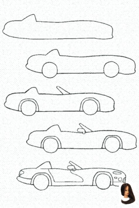 Cartoonauto Drawing Ideas Step By Step Ein Man Step Tutorial Wie Zeichnet How To Draw A Cartoon Car Step B Auto Zeichnen Zeichnen Einfach Malanleitung