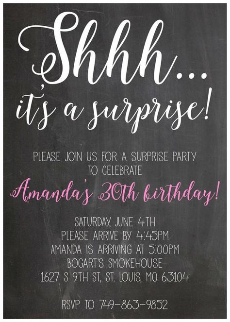 Shhh it's a suprise party birthday invitation, digital file