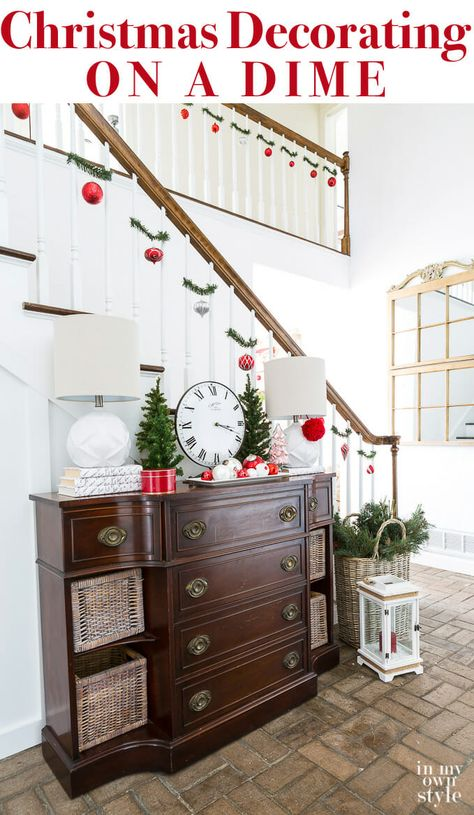 Christmas Staircase Decorating On A Dime Christmas Staircase