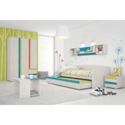 Kinderzimmer Komplett - Set E Peter, 7-teilig, Farbe: Kiefer Weiß / Orange / Gelb / Türkis Steinerst