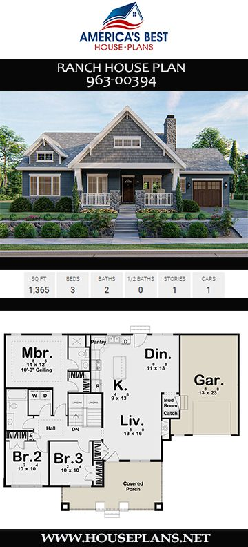 House Plan 963 00394 Ranch Plan 1 365 Square Feet 3 Bedrooms 2 Bathrooms Ranch House Designs Ranch House Plan House Plans
