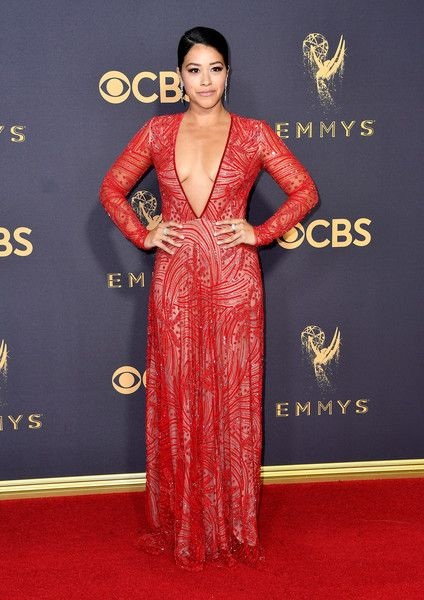 Actor Gina Rodriguez attends the 69th Annual Primetime Emmy Awards at Microsoft Theater.