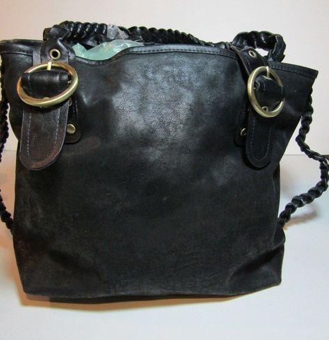 7407fbe7b8cf EUC Bueno Black Faux Leather Large Slouch Tote Bag Handbag Purse  Bueno   Tote