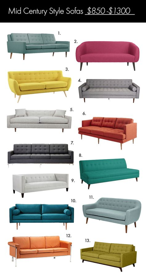 The Ultimate Mid Century Style Sofa Guide! (click through for links)
