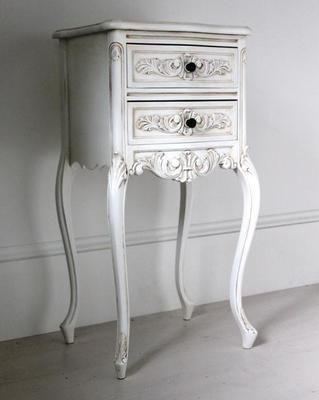 Tall Antique White Bedside Cabinet White Bedside Cabinets