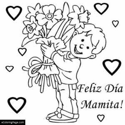 Feliz Dia De Madre Feliz Dia Mamita Dibujo Para Colorear With