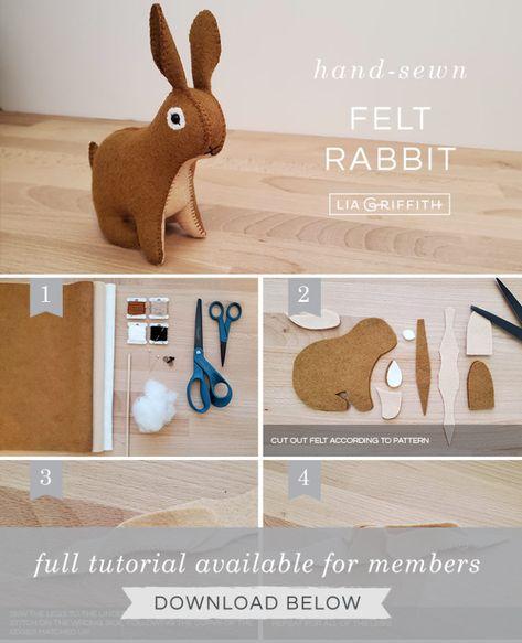 How to Make Your Own Felt Rabbit Stuffie - Lia Griffith Felt Diy, Handmade Felt, Felt Crafts, Diy Crafts, Felt Animal Patterns, Stuffed Animal Patterns, Loom Band Patterns, Felt Finger Puppets, Felt Bunny