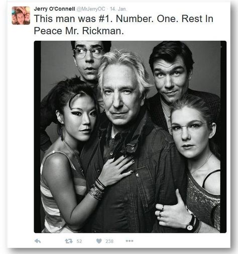 """""""This man was #1. Number. One. Rest in peace Mr. Rickman."""" Jerry O'Connell on Alan Rickman"""