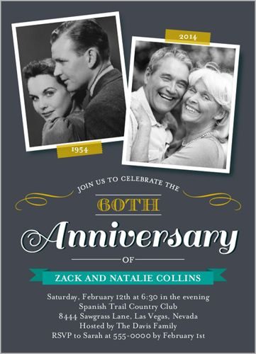 50th Wedding Anniversary Invitation Then and by PartyPrintExpress - anniversary invitation