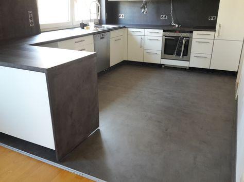 Beton Cire- Beschichtung auf alte Fliesen( Boden und Wand)und - mülleimer küche einbau