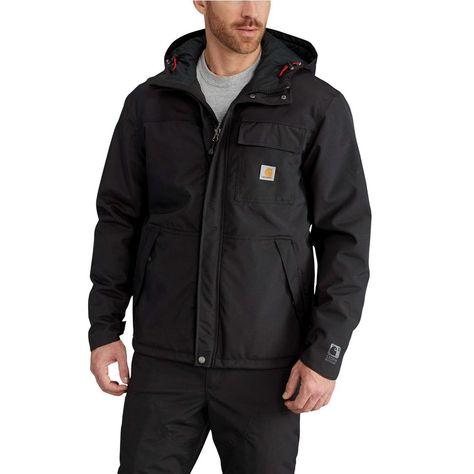 101a631fa3916 Carhartt Men's Extra Large Tall Black Nylon Insulated Shoreline Jacket,  Size: XL