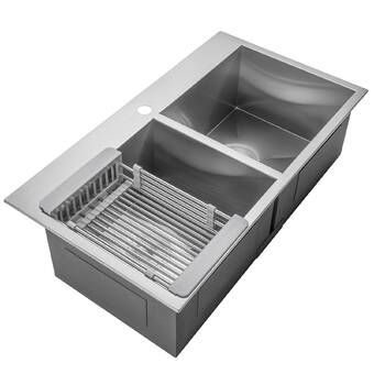 33 L X 22 W Farmhouse Apron Kitchen Sink With Basket Strainer And Drain Assembly Drop In Kitchen Sink Composite Kitchen Sinks Apron Sink Kitchen