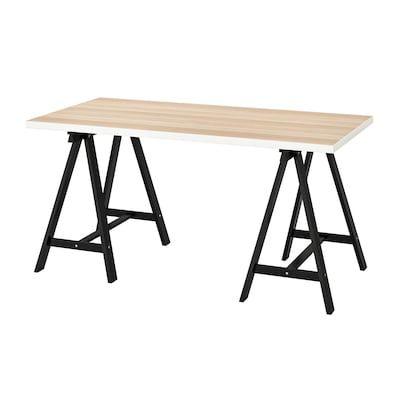 Gerton Table Hetre Noir Blanc Ikea Suisse En 2020 Ikea Decor De Bureau A Domicile Table Ikea
