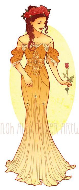 Art Nouveau Costume Designs I by Hannah-Alexander