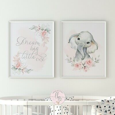 Details About Dream Big Little One Elephant Floral Set In 2020 Floral Sets Gallery Wall