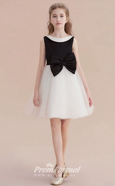 f82a311468 Short Kids Girls Black & White Formal Dresses with Bows CHK164 ...