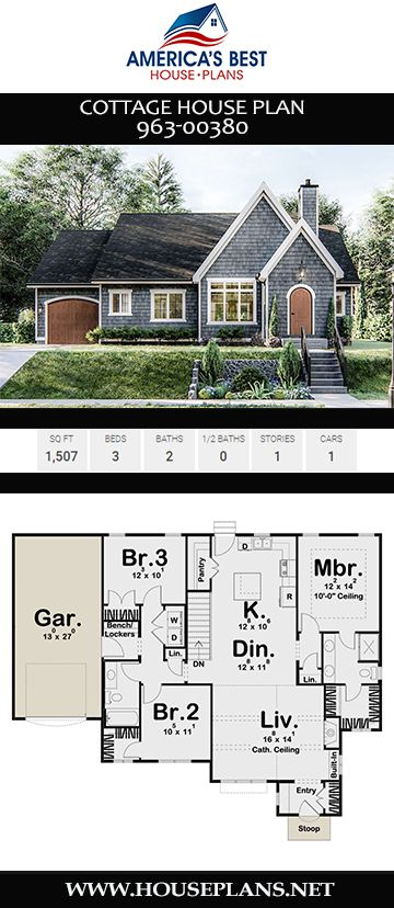 House Plan 963 00380 Cottage Plan 1 507 Square Feet 3 Bedrooms 2 Bathrooms Cottage House Plans House Plans Farmhouse Sims House Plans