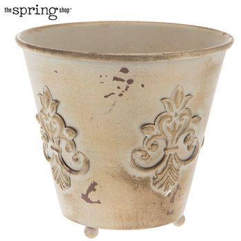 Antique Gold Beige Fleur De Lis Metal Flower Pot Metal Flower Pots Metal Flowers Flower Pots