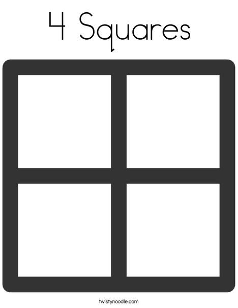 4 Squares Coloring Page Twisty Noodle Coloring Pages Cool Coloring Pages Shape Coloring Pages