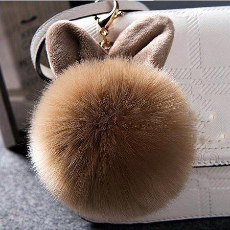 Rabbit Fur Ring Puff Chain Key Charm Bag Pom-pom Fluffy Ball Bow Key