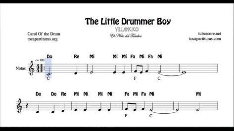 El Tamborilero Partitura Con Notas En Letra Flauta Violín Oboe Villancico Popular Youtube The Little Drummer Boy Oboe Sheet Music
