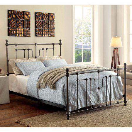 Furniture Of America Trenton Contemporary Industrial Powder Coated Black Metal Bed Vintageindustrialfurniture Spindle Bed Furniture Metal Beds