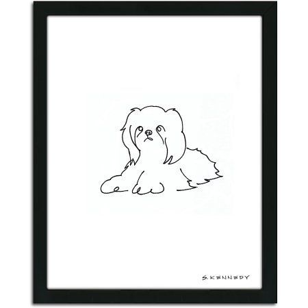 Personal Prints Shih Tzu Dog Line Drawing Framed Art Walmart Com Dog Line Drawing Dog Line Dog Drawing