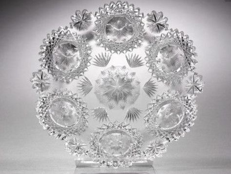 T.G. Hawkes American Brilliant Period Cut Glass Plate, North Star Pattern