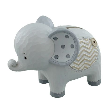 Petit Cheri Pink or Blue Resin Elephant Baby Money Bank Box Birthday Christening