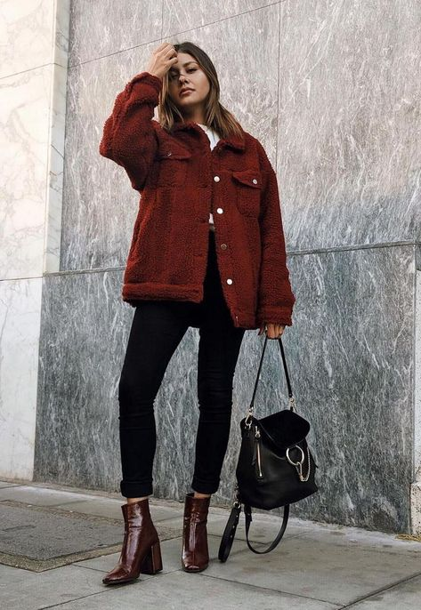 black ankle jeans deep red leather booties red corduroy jacket and a black handbag Visit Daily Dress Me at for more inspiration womens fashion 2018 fall fashion casual ou. Fashion 2018, Look Fashion, Trendy Fashion, Autumn Fashion, Fashion Women, Fashion Trends, Fashion Black, Cheap Fashion, Winter Fashion Street Style