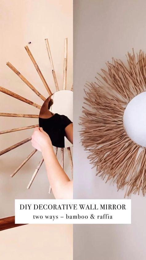 DIY Decorative Wall Mirror 2 Ways   Bamboo & Raffia