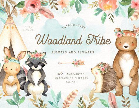 Woodland Tribe Watercolor Clip Art Woodland Animals Kids | Etsy