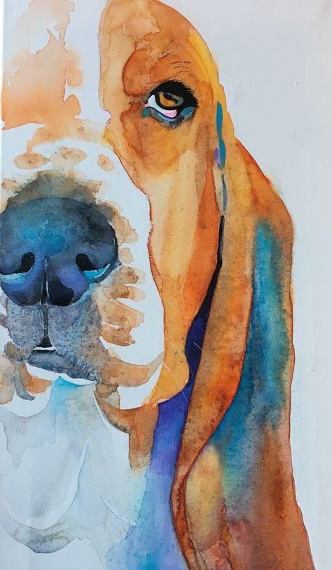 Watercolor basset hound,