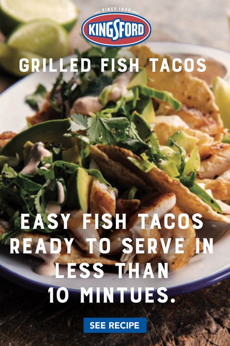 America was first introduced to this south-of-the-border creation by Baja surfers, and it quickly became the go-to meal for hungry beachgoers throughout Southern California. Our easy Grilled Fish Tacos may be the perfect summer addition to your menu.  Tap on the pin for the recipe. Easy Fish Tacos, Grilled Fish Tacos, Grilled Seafood, Fish And Seafood, Salmon Recipes, Fish Recipes, Seafood Recipes, Mexican Food Recipes, Recipies