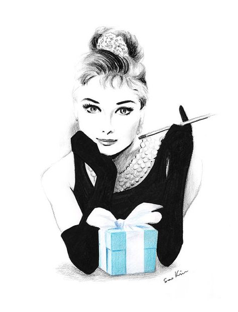 Audrey Hepburn Breakfast at Tiffany& - Pencil and pen drawing - This is a print from my original mixed media drawing: crayons, pencil and marker. Printed on white, -