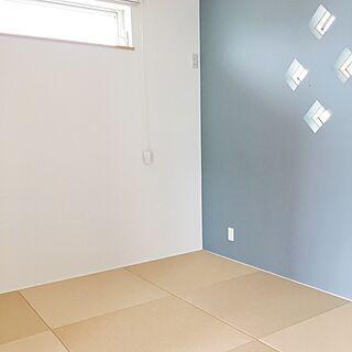 壁 天井 ブルーグレーの壁 ブルーグレー 白茶色 小上がり和室 などの