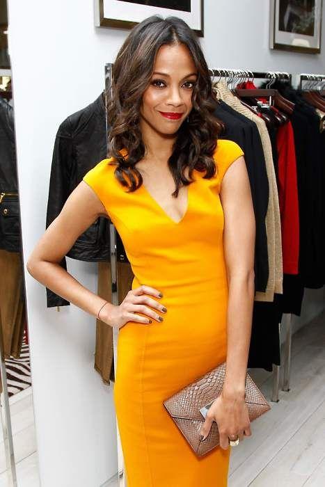 Yellow Dress Red Lipstick Fashion Zoe Saldana Colorful Fashion
