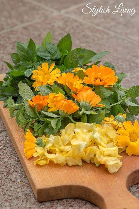 Teemischung aus Minze, Mellisse, Königskerze, Ringelblume