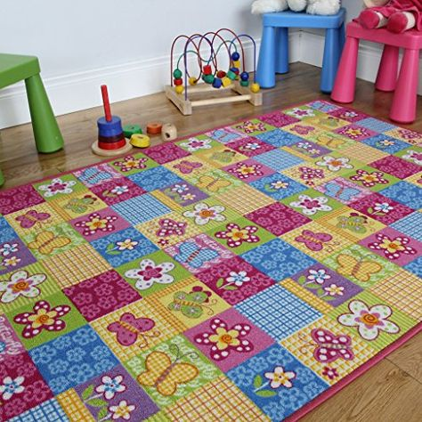 80cm x 120cm Available in 4 Sizes Rugs Supermarket Kids Non Slip Machine Washable Butterflies Play Mat