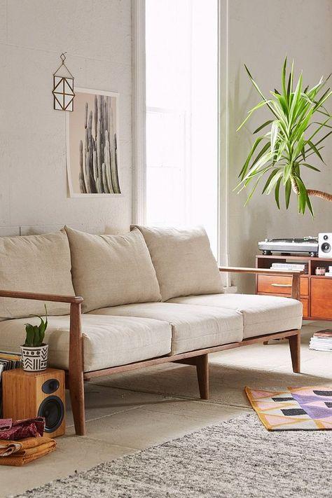 EKENÄSET 3-pers sofa, Isunda grå Ikea design, Wooden leg and