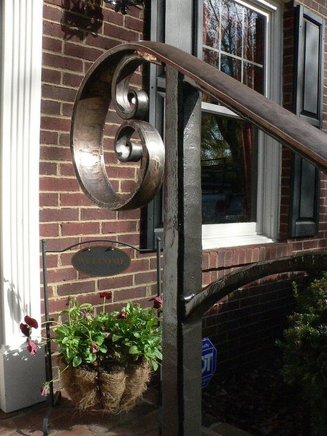 Exterior Bronze Scroll Handrail Lexington Ky Detail Escadas