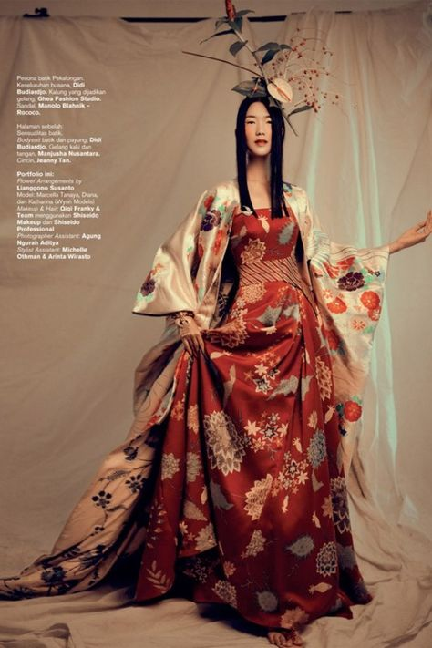 Fashion photographer Ryan Tandya is in the studio with Wynn models Marcella, Katharina and Diana for 'Eksplorasi Tradisi', a fashionable look at indigenous design. Michael Pondaag styles the trio in spectacular looks for Harper's Bazaar Indonesia August