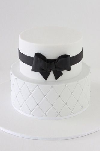 2 Tier Black and White Cake with Bling