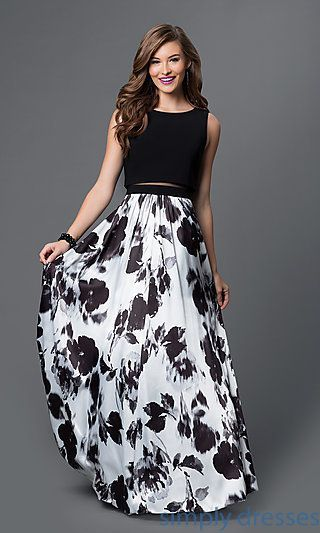 7be60a5f9473a Two-Piece, Floral-Print, Black And White Dress,O Neck,long Party ...